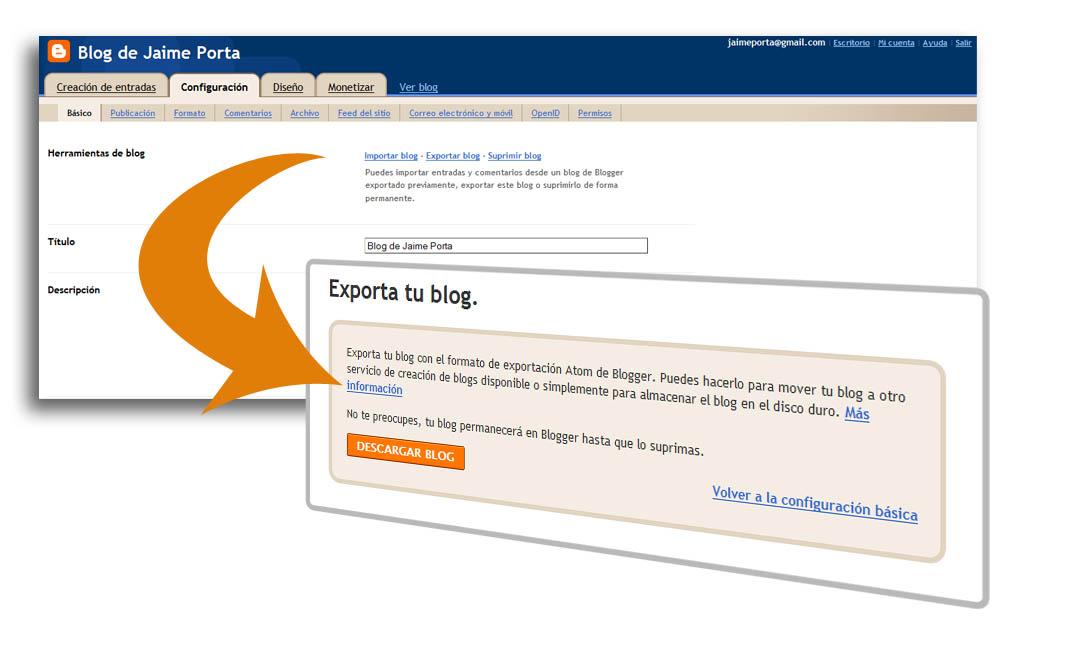Generando el fichero de exportación de Blogger