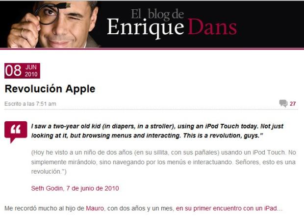 Revolución Apple en el blog de Enrique Dans