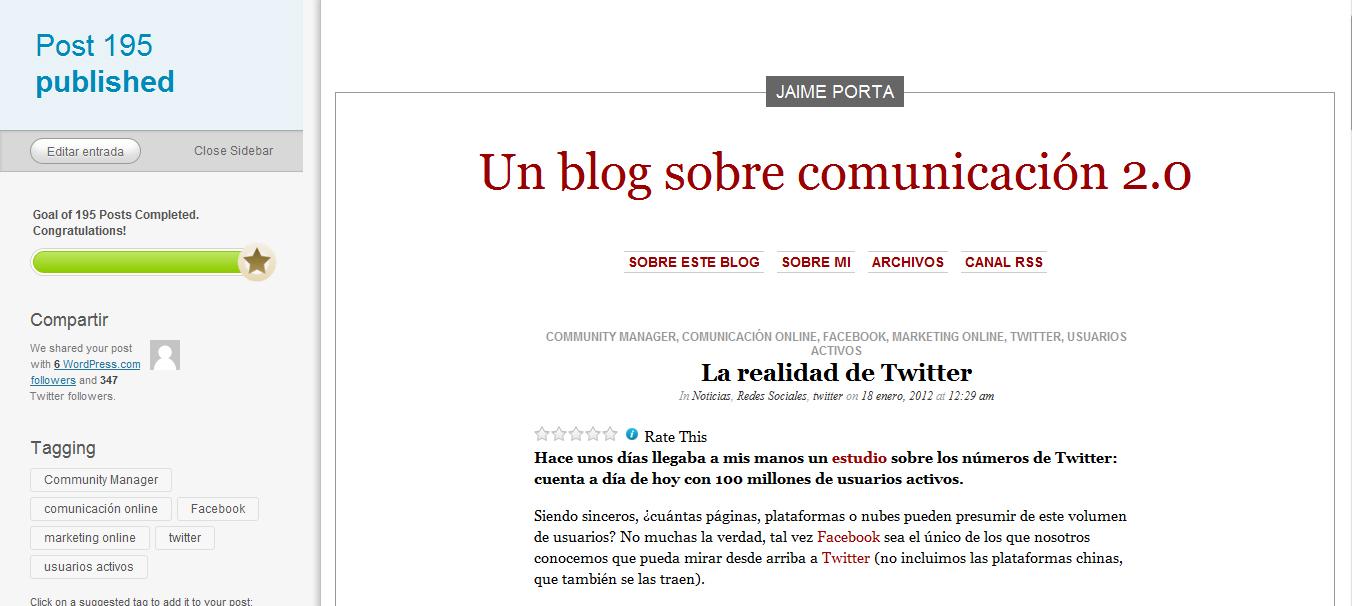 Reconocimiento de WordPress por mis 195 post publicados