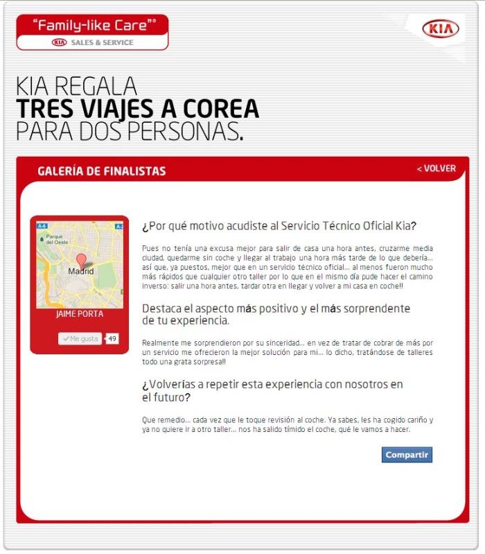 Aplicación de KIA en Facebook