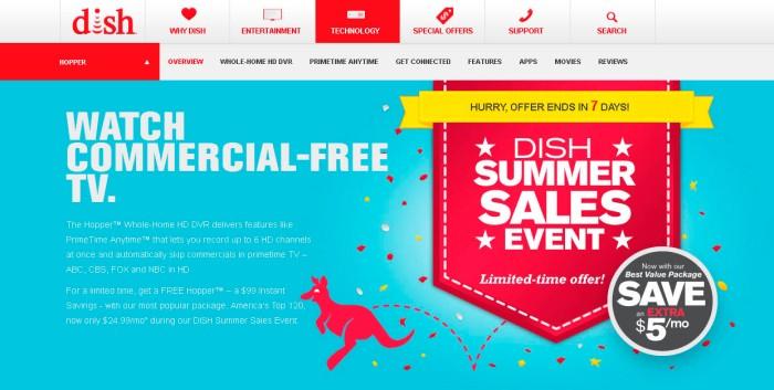 Pagina del reproductor de DVD de la empresa Dish Network