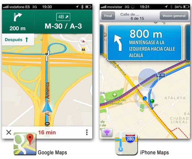 Comparativa entre el app de Google Maps y el app de mapas del iPhone 01