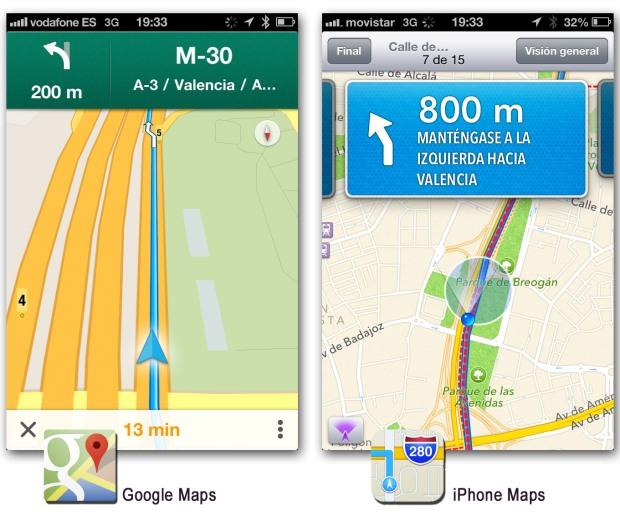 Comparativa entre el app de Google Maps y el app de mapas del iPhone 2