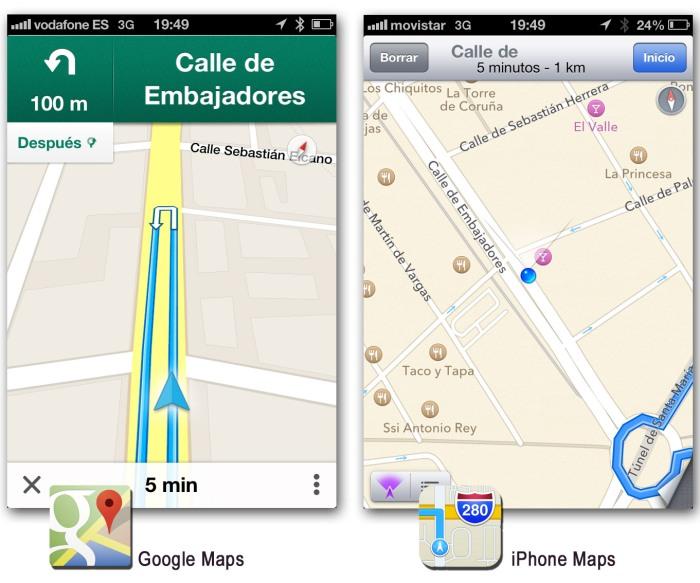 Comparativa entre el app de Google Maps y el app de mapas del iPhone 3
