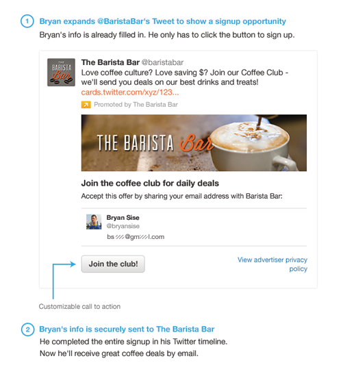 Capture user interest with the Lead Generation Card