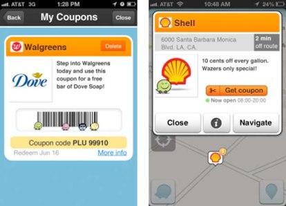Anuncios en Waze de una gasolinera y un producto