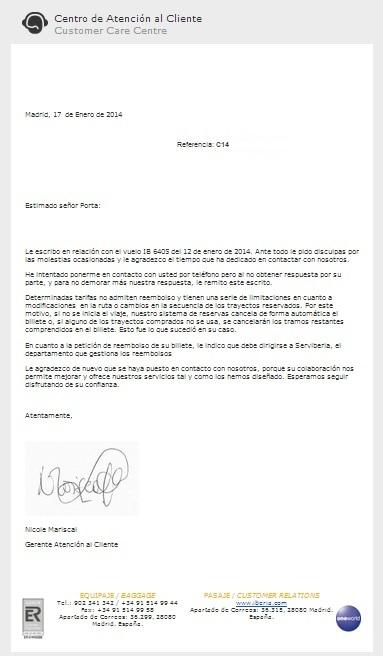 Carta respuesta atención clientes Iberia