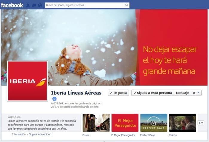 Facebook de iberia como compañía de referencia