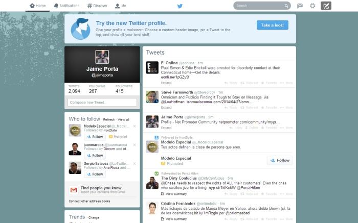 nueva configuración perfil usuario en Twitter