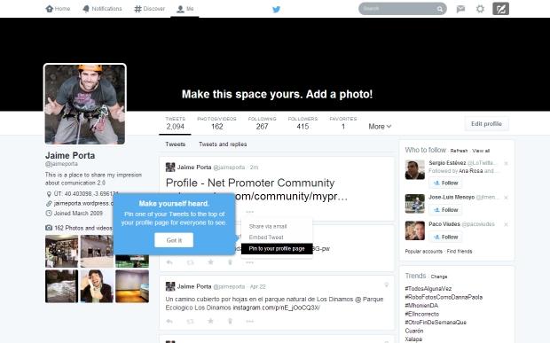 Destacar un tweet en twitter