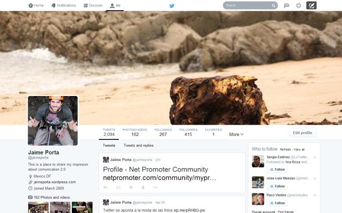 Nuevo perfil de Jaime Porta en Twitter