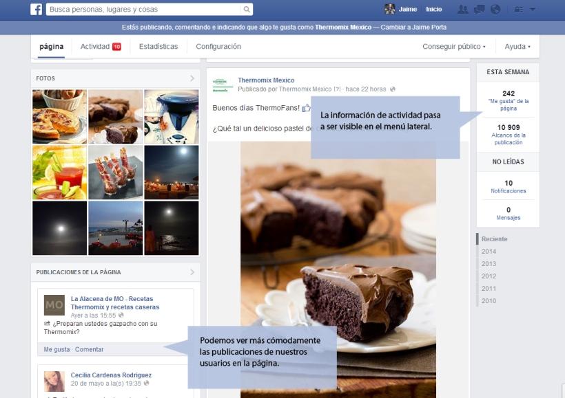 Nueva configuración de la pagina de fans de facebook
