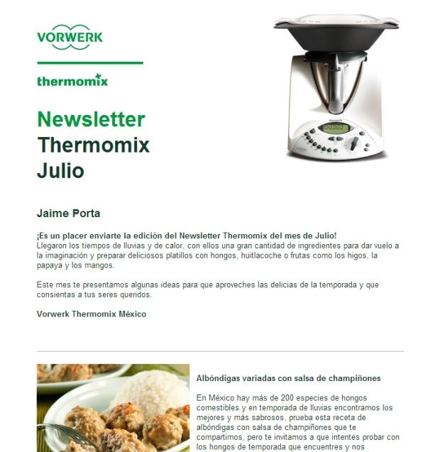 Imagen de la newsletter de Thermomix México
