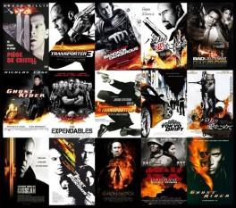 Carteles de películas de naranja sobre negro