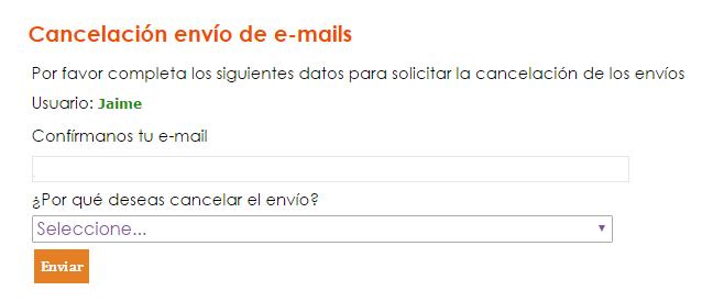 mailing, cancelación, envíos, suscripción, campañas